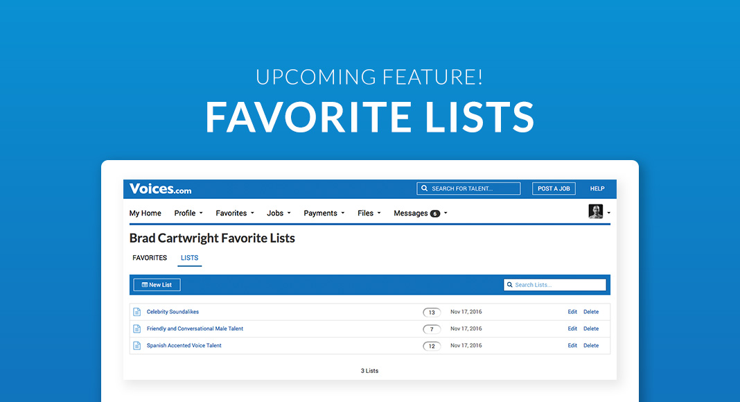 New Favorites feature for clients at Voices.com