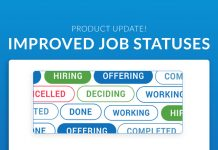 """A banner image says """"Product Update: Improved Job Statuses"""" and depicts samples of the job status buttons"""