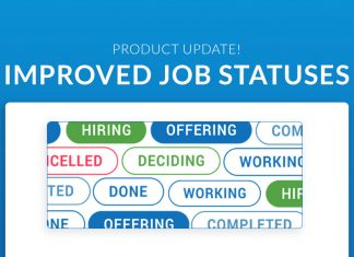 "A banner image says ""Product Update: Improved Job Statuses"" and depicts samples of the job status buttons"