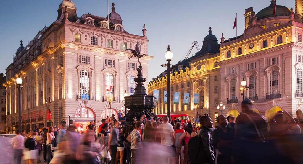 Picadilly Circus, in London, England, at night