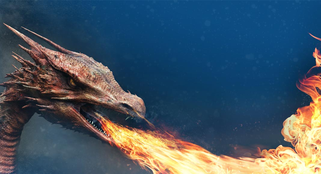 Fire-breathing dragon. Smaug-like dragon from The Hobbit.
