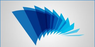 A series of illustrated blue squares stretched out like an like an accordion, show a spectrum of blue