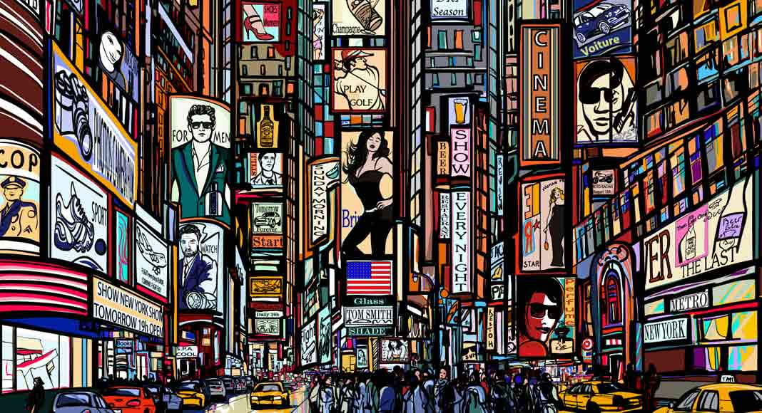 An illustrated scene depicting Times Square in New York