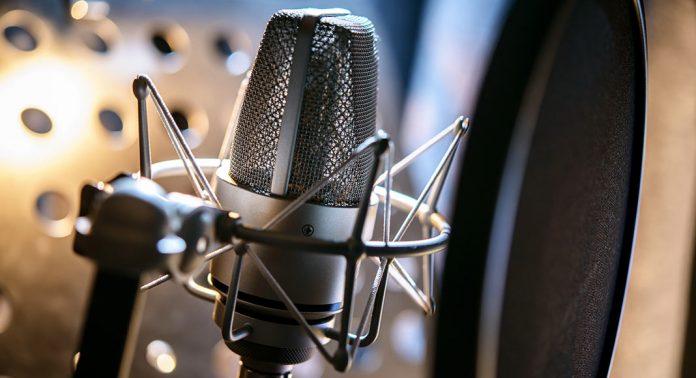 A microphone sits in a stabilizer.