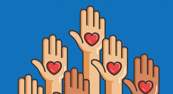 An illustration of several hands facing up, with hearts on their palms