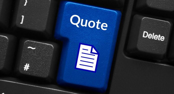 A blue button on a keyboard has the word 'Quote' on it with an icon that looks like a sheet of paper