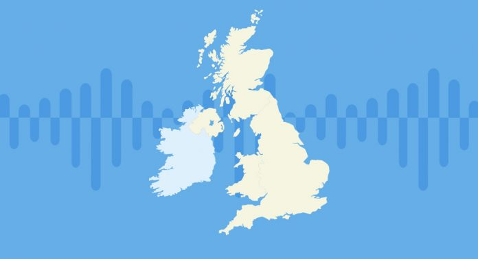 A map of the UK with soundwaves showing in the background