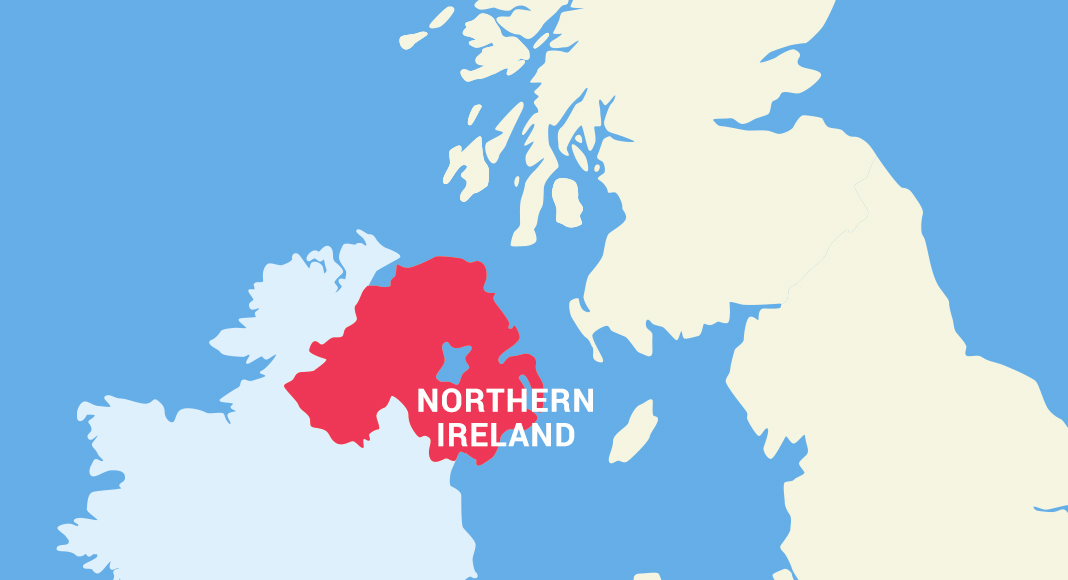A map of the UK shows Northern Ireland highlighted in red