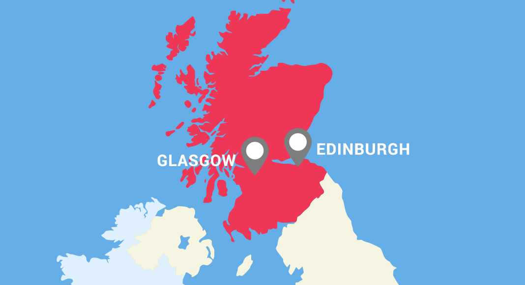 A map of the UK shows Scotland highlighted in red with two placemarkers showing where the cities of Glasgow and Edinburgh are located