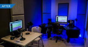 Photo of a fully functioning voice recording studio