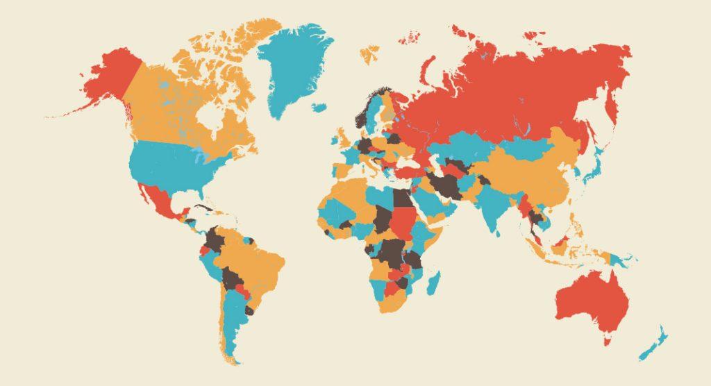 A multicolored world map