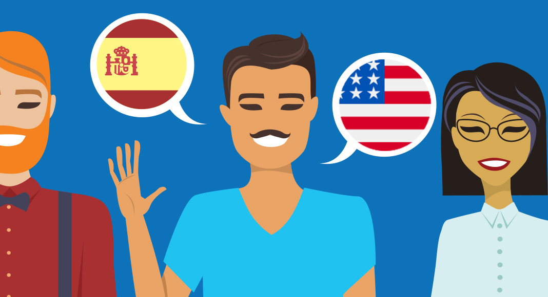 Three cartoon people in a row. The man in the center has two speech bubbles around him, one with the flag of Spain, the other with the flag of the United States of America