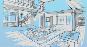 An artist's sketch of a office with a staircase in blue and grey