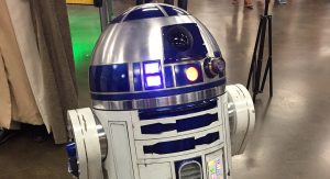 A close up of a fan-made R2D2 robot