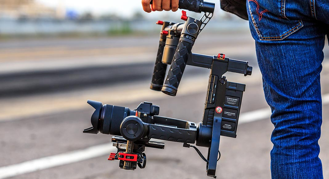 Closeup of equipment in a videographer's grip