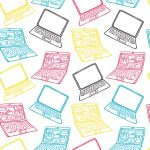An illustration depicts laptops in many colors