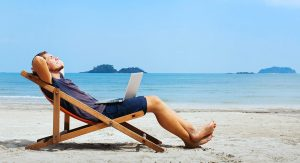 Man relaxing on a beach