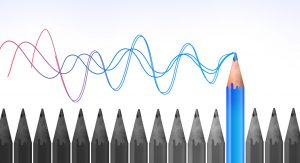 A graphic image shows sound waves emanating from the tip of a coloured pencil