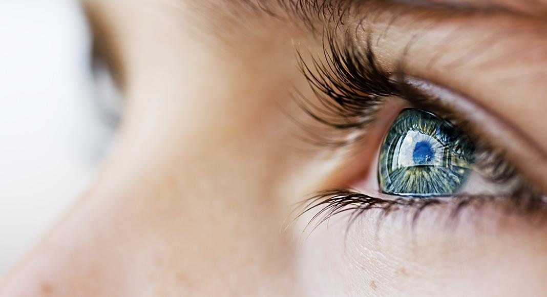 A close up of a blue eye.