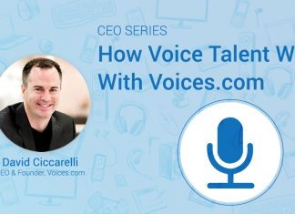 A headshot of Voices.com CEO and Co-Founder David Ciccarelli on a graphic background, with the text How Voice Talent work with Voices.com