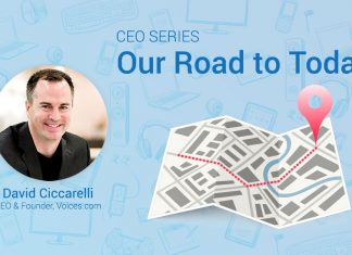 "A photo of Voices.com CEO and Co-Founder David Ciccarelli on a graphic background that includes a roadmap and the words ""CEO Serie: Our Road to Today."""