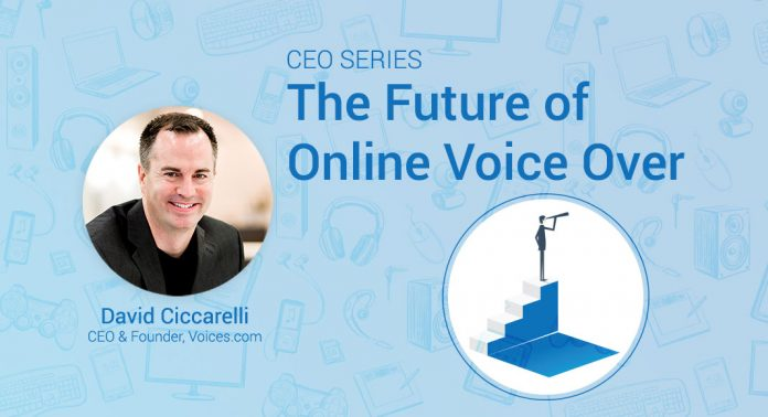 A photograph of Voices.com CEO David Ciccarelli is overlaid on an illustrated background, with an icon showing an individual at the top of a flight of stairs, looking out towards the future with a telescope.