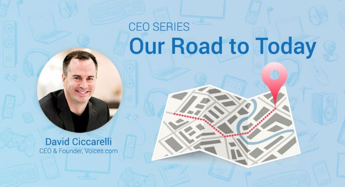A photo of Voices.com CEO and Co-Founder David Ciccarelli on a graphic background that includes a roadmap and the words