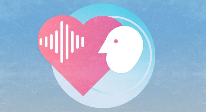 An illustrated icon of a heart, a sound file and a persons face