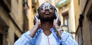 man, headphones, listening, voices, music