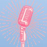 An illustrated microphone on a blue background