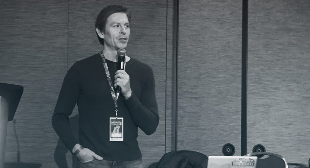 Reuben Langdon speaks to the crowd at the Forest City Comic Con