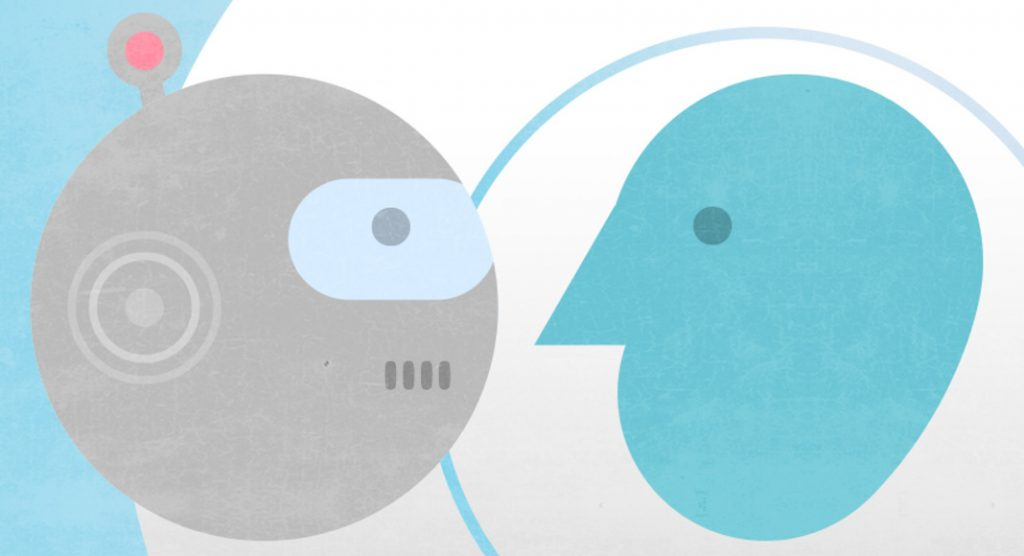 Two illustrated icons, one of a robot, one of a human, face each other