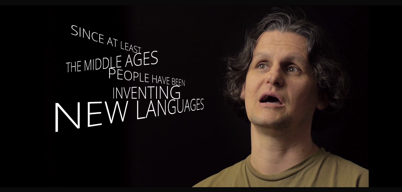 Screen capture of the introduction to a created languages documentary
