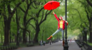 Singing in the rain, actress, red umbrella, lamppost