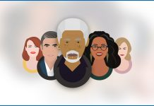 Illustrations depict Morgan Freeman, Oprah Winfrey, Nicole Kidman, George Clooney, and Emma Stone.