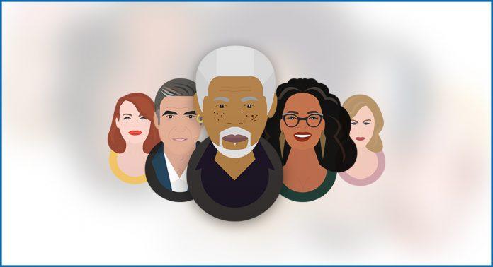 Illustrations depict Morgan Freeman, Oprah Winfrey, Nicole Kidman, George Clooney, and Emma Stone.