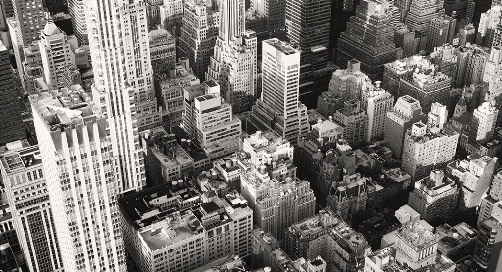Cityscape of New York City in black and white