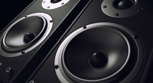 A group of subwoofer speakers