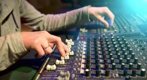 Man at a mixing board