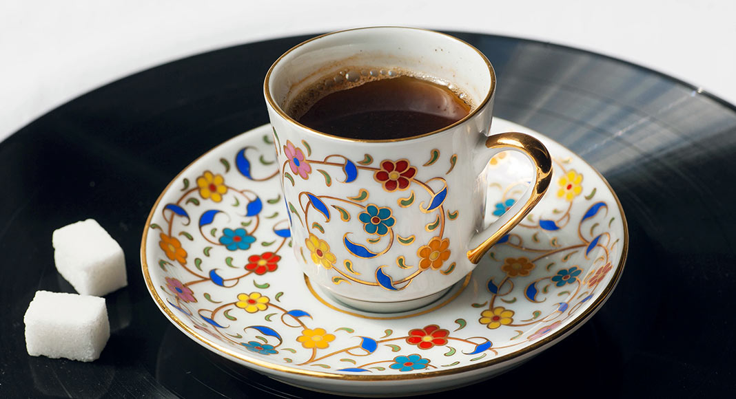 teacup, coffee cup, coffee, sugar cubes, vinyl record