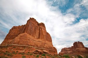Tower of Babel rock formation with the 3 Gossips in Arches National Park near Moab, Utah. | Voices.com Blog - Where clients and voice actors can find valuable information on pre-production, technology, animation, video and audio production, home recording studios, business growth, voice acting and auditions, celebrity voice actors, voiceover industry news and more!