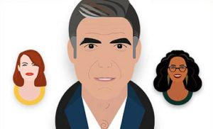 Illustrations of celebrities, including Oprah, George Clooney, and Emma Stone.