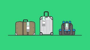 An illustration of three suitcases lined up with luggage tags, each listing a different location.