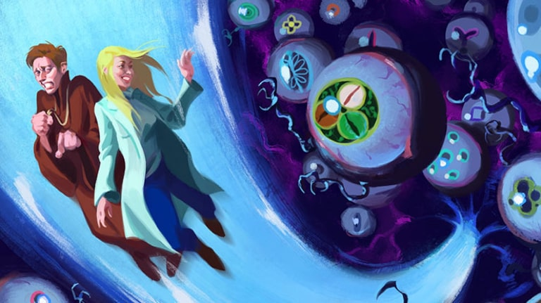 A fantasy illustration, with two characters flying upwards, away from eyeball monsters with claws.