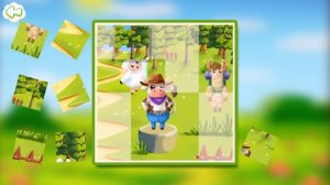 A digital puzzle game, with a puzzle picturing farm animals in a forest