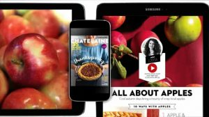 A phone and two tablets all displaying different parts of the Chatelaine magazine. The magazine cover and articles feature pictures of apples and pies.